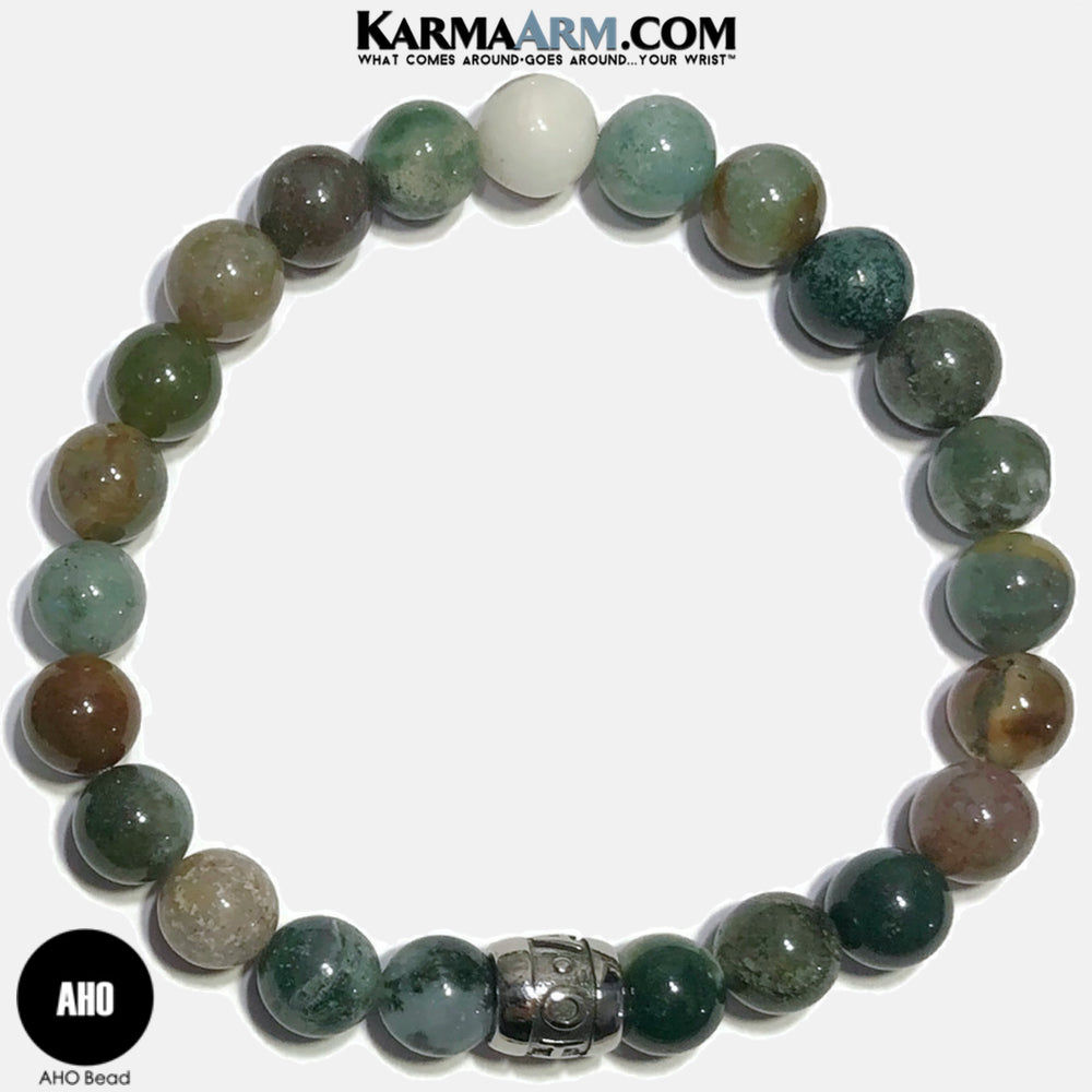 AHO Meditation Mantra Yoga Bracelets. Self-Care Wellness Wristband Jewelry. Indian Agate.
