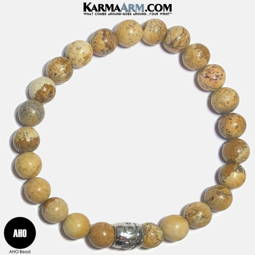 AHO Meditation Mantra Yoga Bracelets. Self-Care Wellness Wristband Jewelry. Picture Jasper.