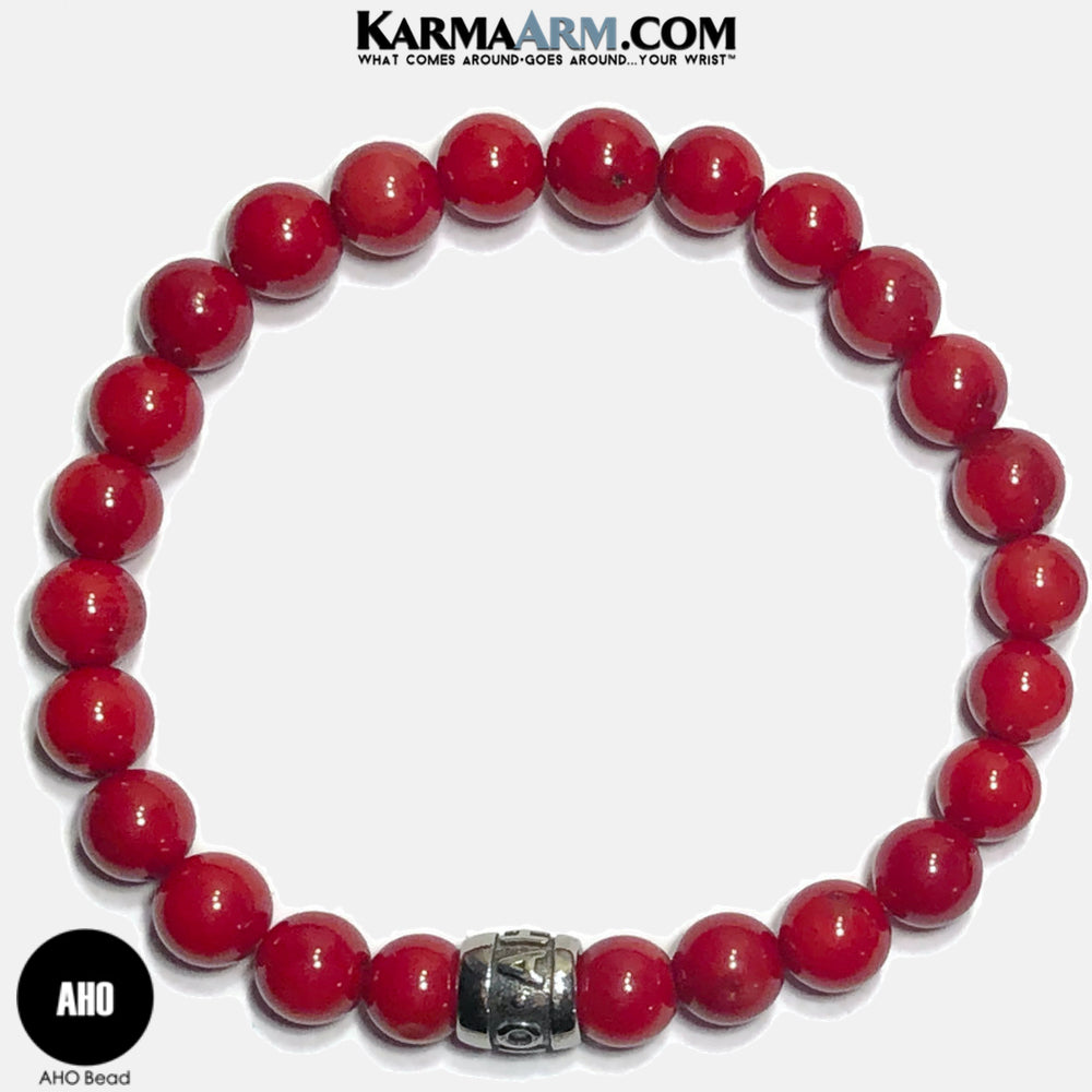 AHO Meditation Mantra Yoga Bracelets. Self-Care Wellness Wristband Jewelry. Red Coral.