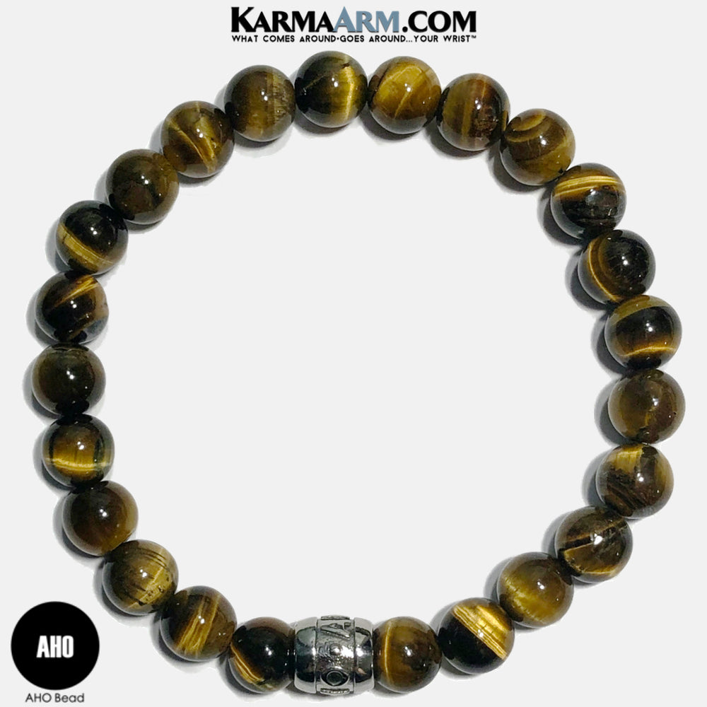 AHO Meditation Mantra Yoga Bracelets. Self Care Wellness Wristband Jewelry. Tiger Eye.
