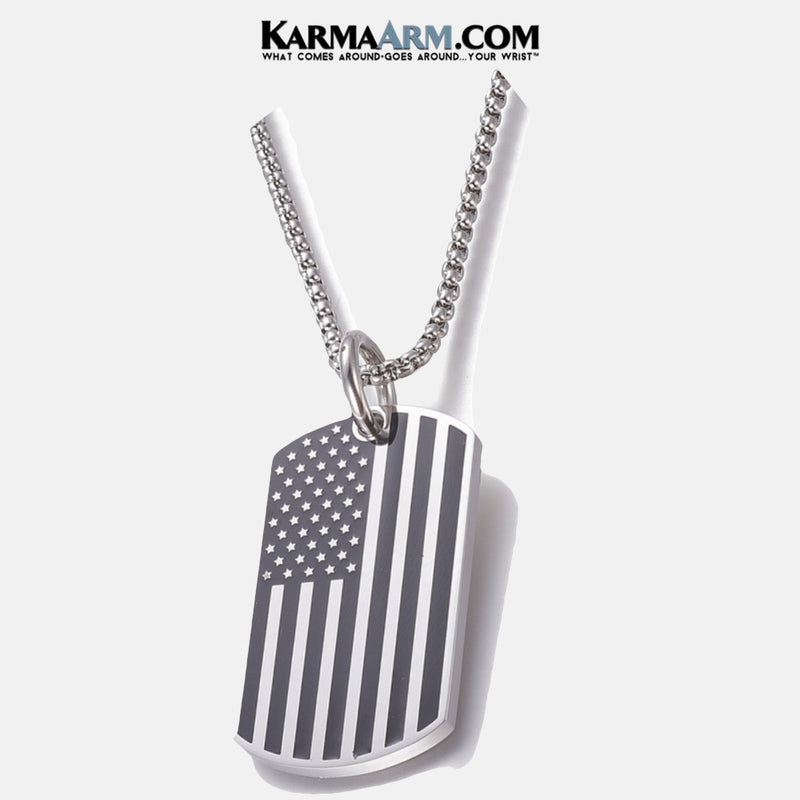 AMERICAN FLAG Mens NECLACE Yoga Bracelets. self-care wellness meditation wristband jewelry.