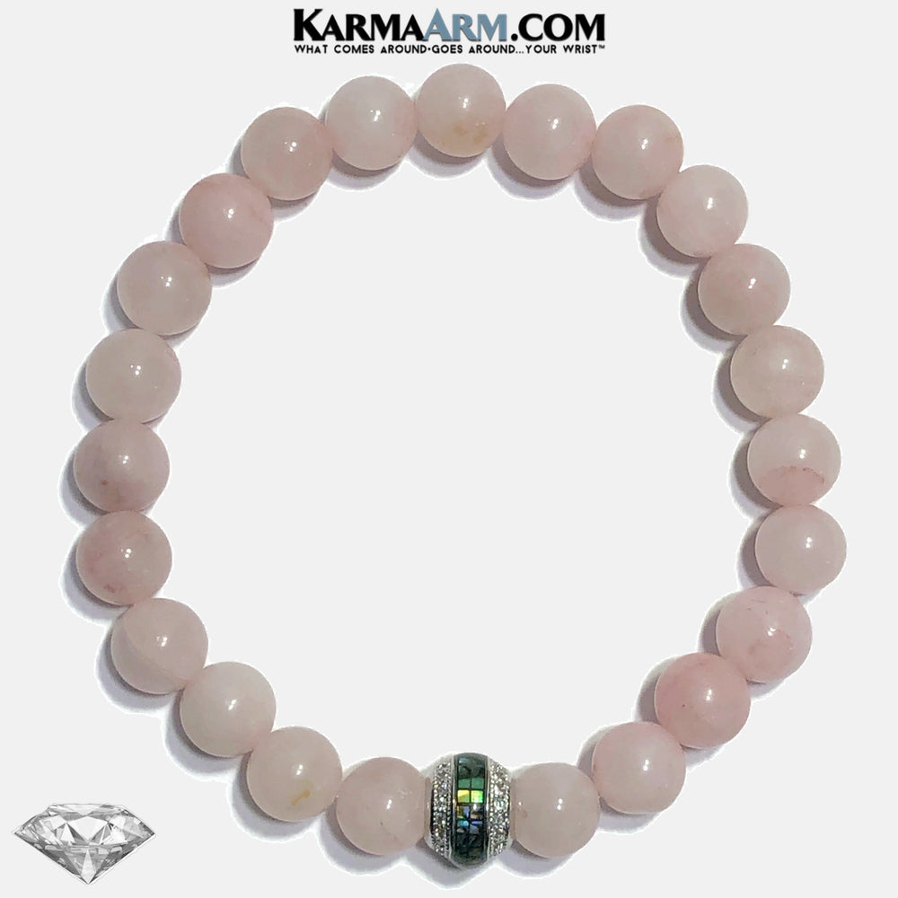 Abalone Shell CZ Diamond Meditation Mantra Yoga Bracelets. Self-Care Wellness Wristband Jewelry.  Rose Quartz.