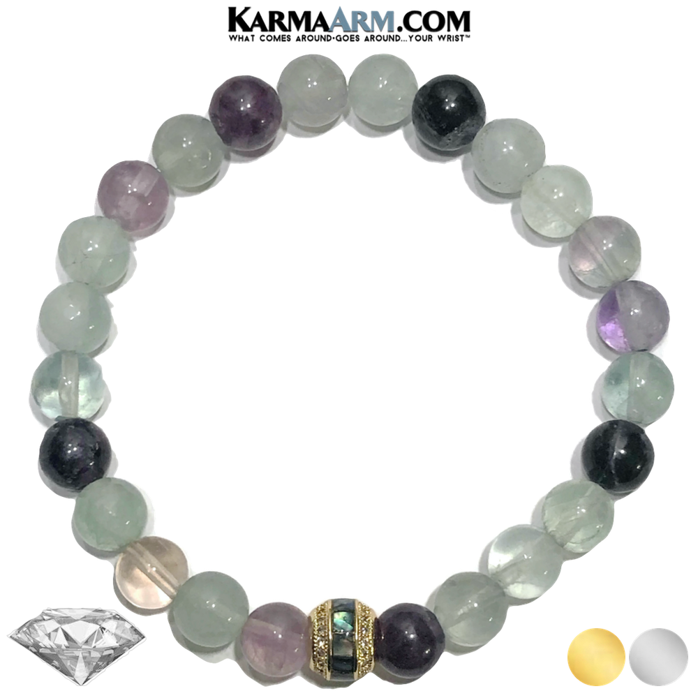 Abalaone Shell Meditation Wellness Self-Care Yoga Bracelets. Mens Wristband Jewelry. rainbow fluorite.