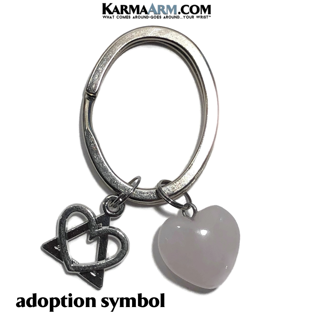 Adoption Keychain Key Chain Ring. Rose Quartz Charm Adopted.