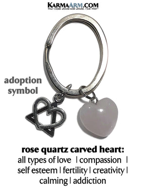 Adoption Keychain Key Chain Ring. Rose Quartz Charm Adopted. copy
