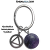 Alcoholics Anonymous Symbol Meditation Self-Care Wellness Zen Keychain Ring. Amethyst.