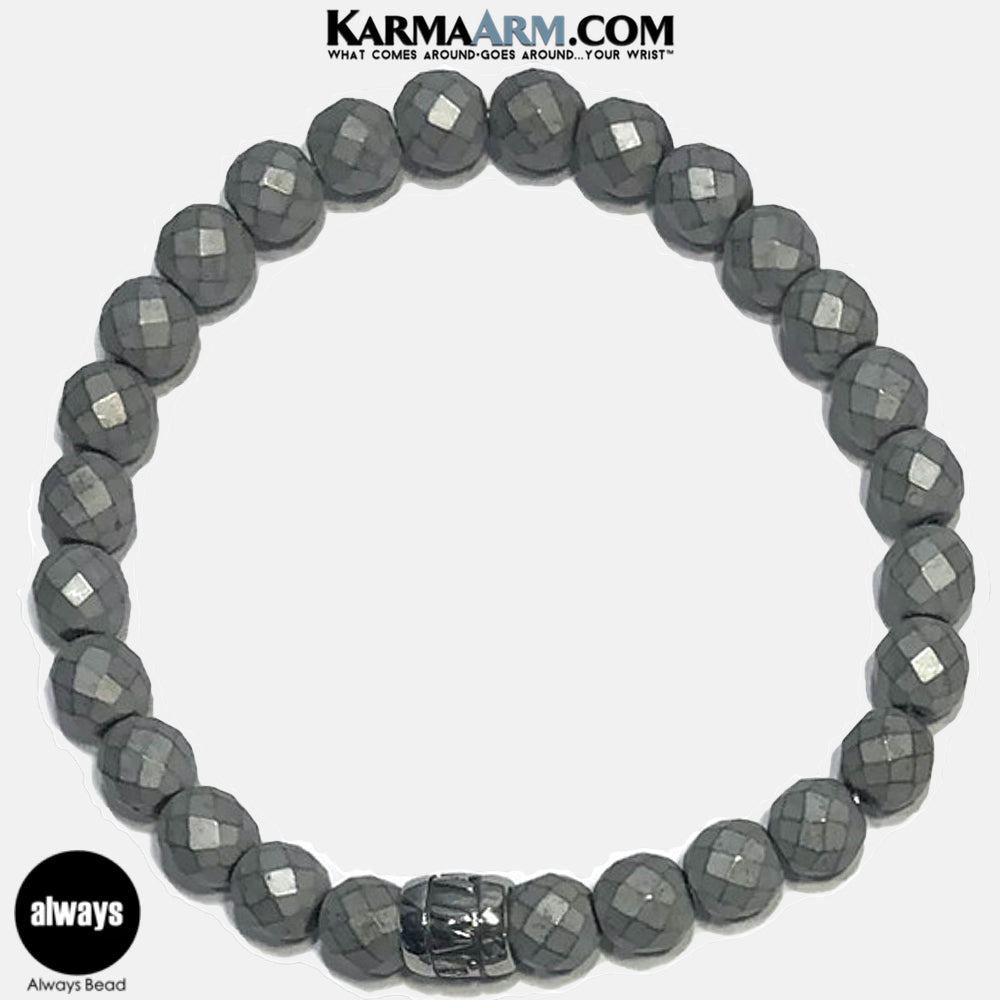 Yoga Bracelets. Always Meditation Mantra Yoga Bracelets. Self-Care Wellness Wristband Jewelry. Faceted Silver Hematite.