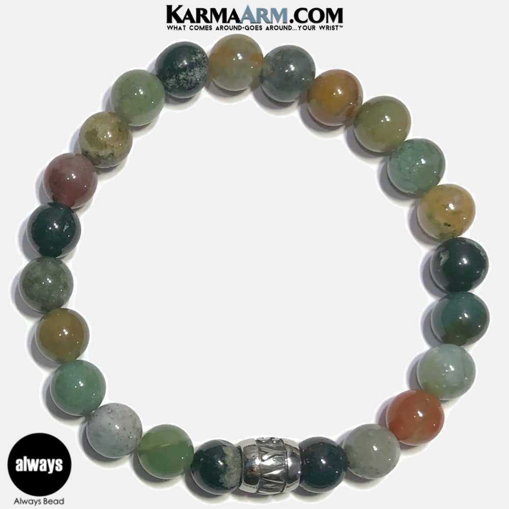 Always Meditation Mantra Yoga Bracelets. Self-Care Wellness Wristband Jewelry. Indian Agate.