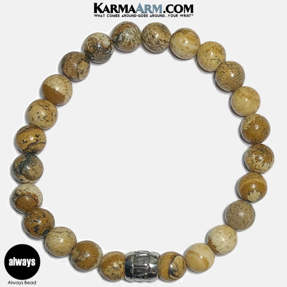 Always Meditation Mantra Yoga Bracelets. Self-Care Wellness Wristband Jewelry. Picture Jasper.