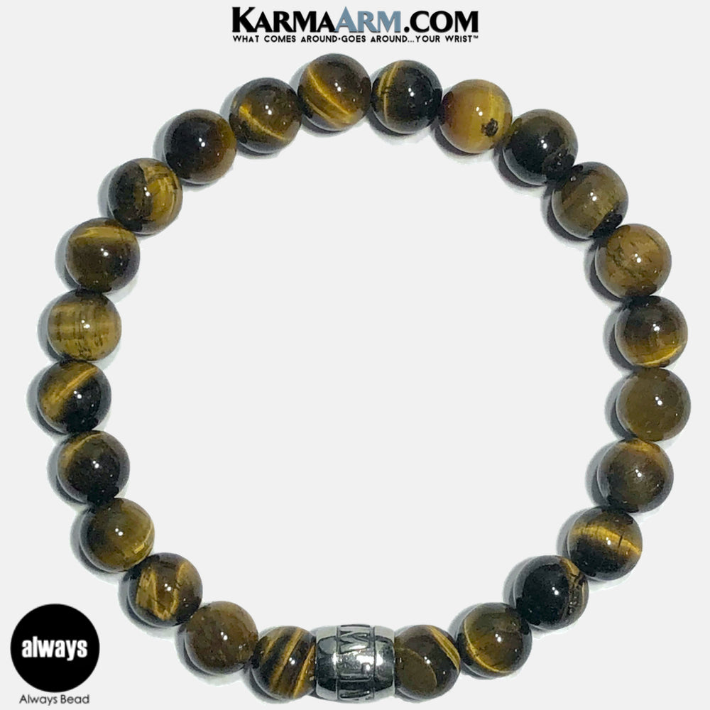 Always Meditation Mantra Yoga Bracelets. Self-Care Wellness Wristband Jewelry. Tiger Eye.