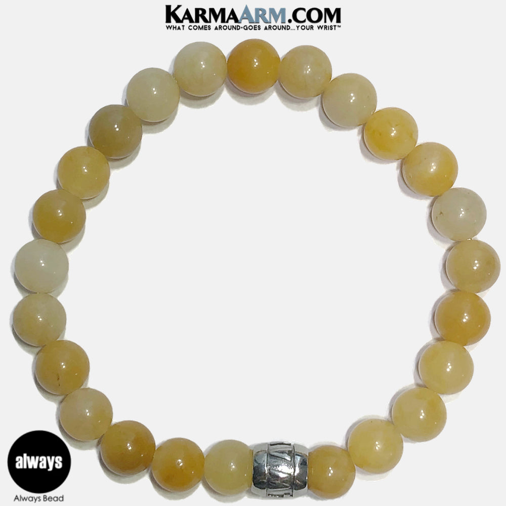 Always Meditation Mantra Yoga Bracelets. Self Care Wellness Wristband Jewelry. Yellow Aventurine. copy 3