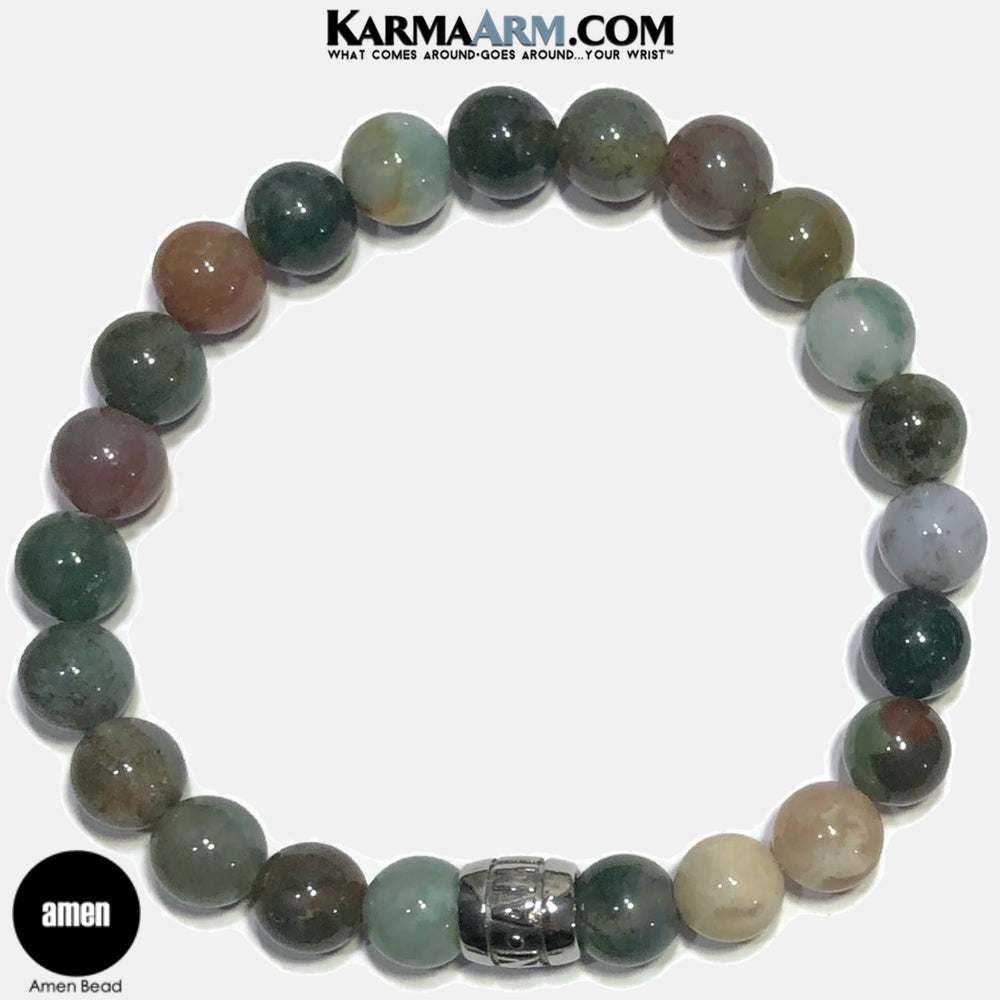Amen Meditation Mantra Yoga Bracelets. Self Care Wellness Wristband Jewelry. Indian Agate.