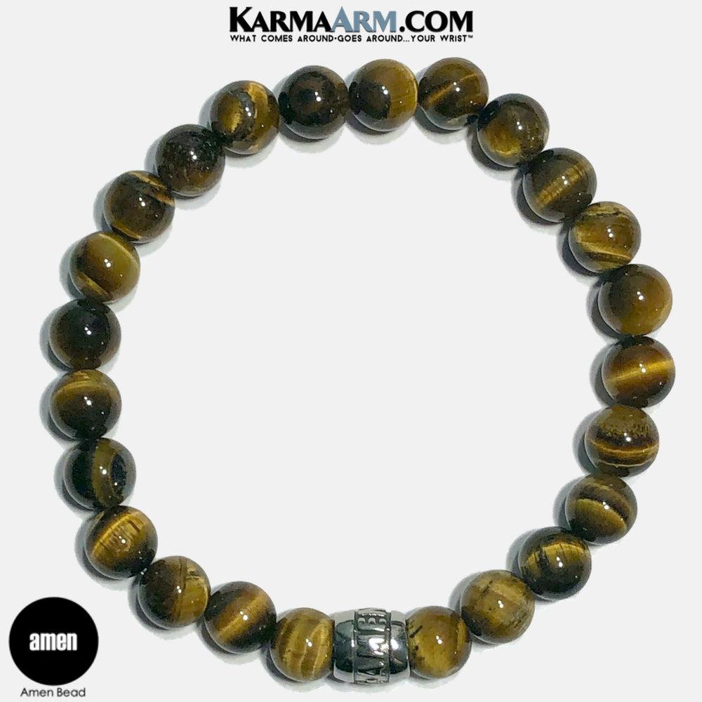 Amen Meditation Mantra Yoga Bracelets. Self-Care Wellness Wristband Jewelry. Tiger Eye.