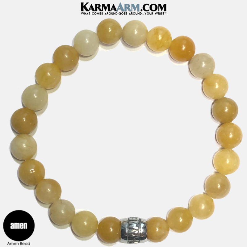 Amen Meditation Mantra Yoga Bracelets. Self Care Wellness Wristband Jewelry. Yellow Aventurine. copy 2
