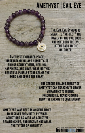 Yoga Bracelets. Amethyst Evil Eye. Stretch Beaded Chakra Jewelry. Energy Healing Meditation.