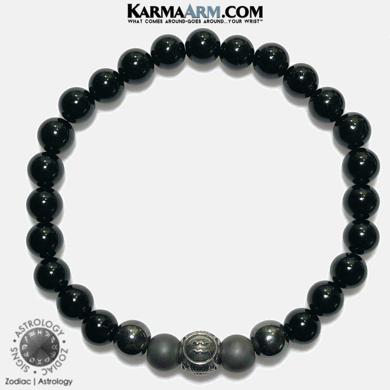 Astrology Horoscope Zodiac Meditation Self-Care Wellness Mantra Yoga Bracelets. Mens Wristband Jewelry. lava Onyx Hematite.