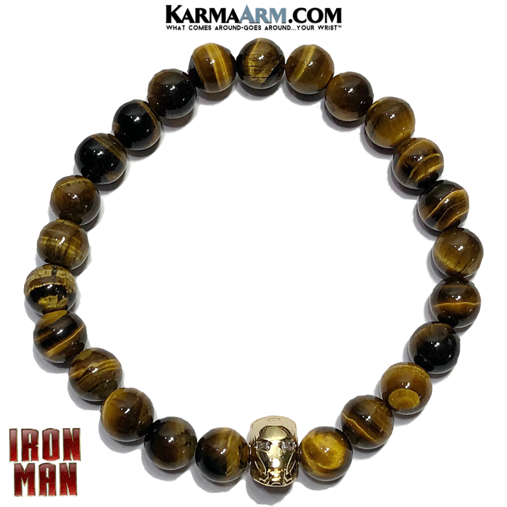 Avengers Iron Man Meditation Yoga Bracelet. Mens Self-Care Wellness Wristband Jewelry.  Tiger Eye.