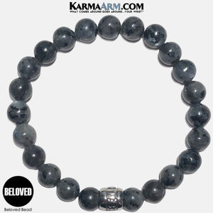 BELOVED Mantra Mindfulness Yoga Bracelets. Meditation Welness Jewelry. Black Labradorite Moonstone. copy