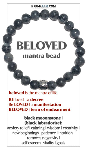 BELOVED Mantra Mindfulness Yoga Bracelets. Meditation Jewelry. Black Labradorite Moonstone. copy