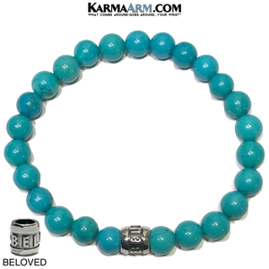 BELOVED Meditation Mantra Self-Care Wellness Yoga Bracelets. Mens Wristband Jewelry. Turquoise