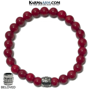 BELOVED Meditation Yoga Bracelet. Mens Self-Care Wellness Wristband Jewelry. Red Coral.