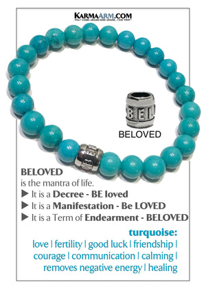 BELOVED Wellness Self-Care Meditation Mantra Yoga Bracelets. Mens Wristband Jewelry. Blue Turquoise.