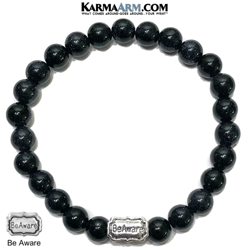 BE Aware Meditation Self-Care Wellness Mantra Yoga Bracelet. Bead Wristband.  Blue Goldstone.