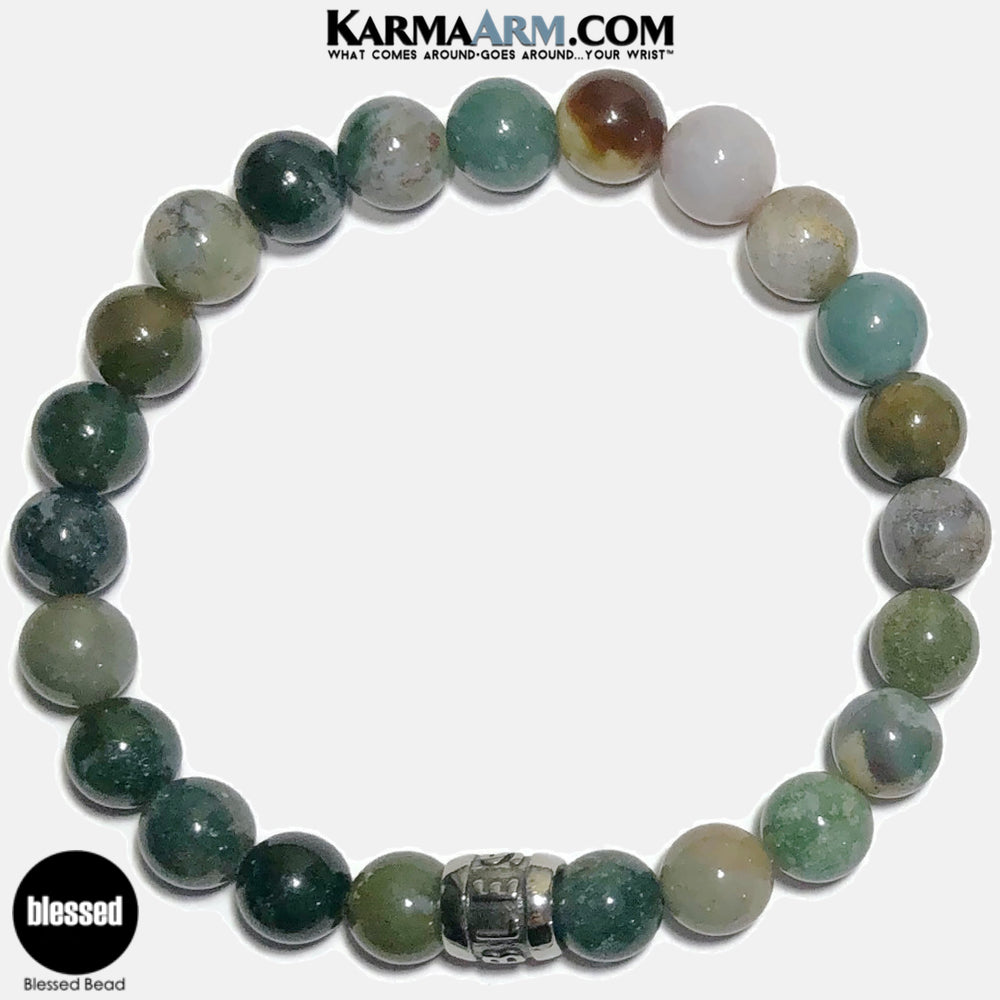 BLessed Meditation Mantra Yoga Bracelets. Self-Care Wellness Wristband Jewelry. Indian Agate.