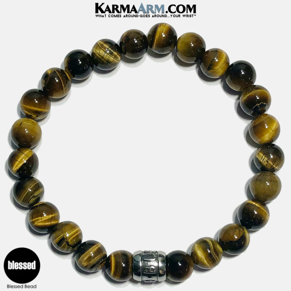 Blessed Meditation Mantra Yoga Bracelets. Self Care Wellness Wristband Jewelry. Tiger Eye.