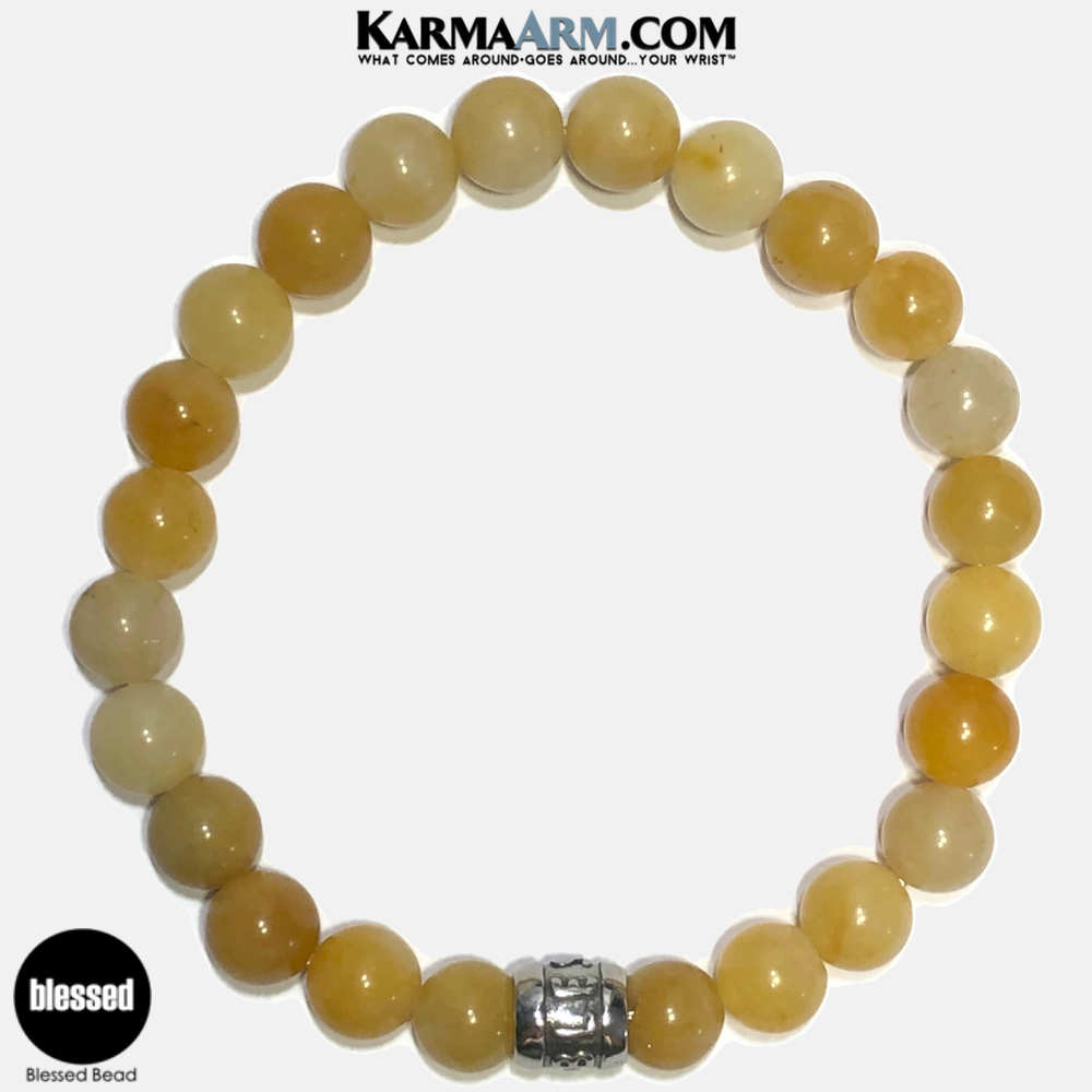 BLessed Meditation Mantra Yoga Bracelets. Self-Care Wellness Wristband Jewelry. Yellow Aventurine. copy 3