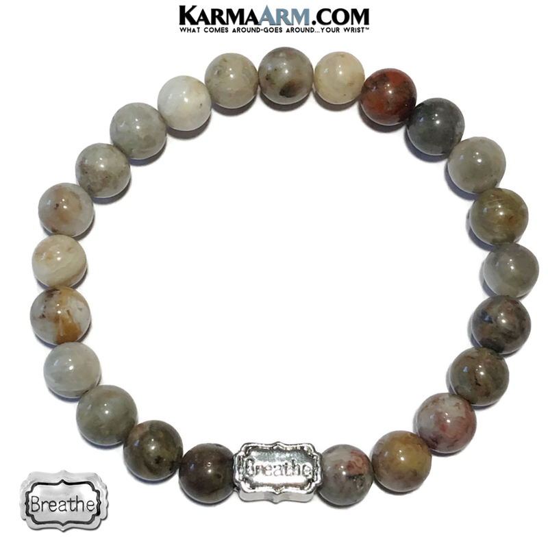 Bamboo Leaf Agate Breathe Meditation Yoga Bracelet. Mens Self-Care Wristband Jewelry.