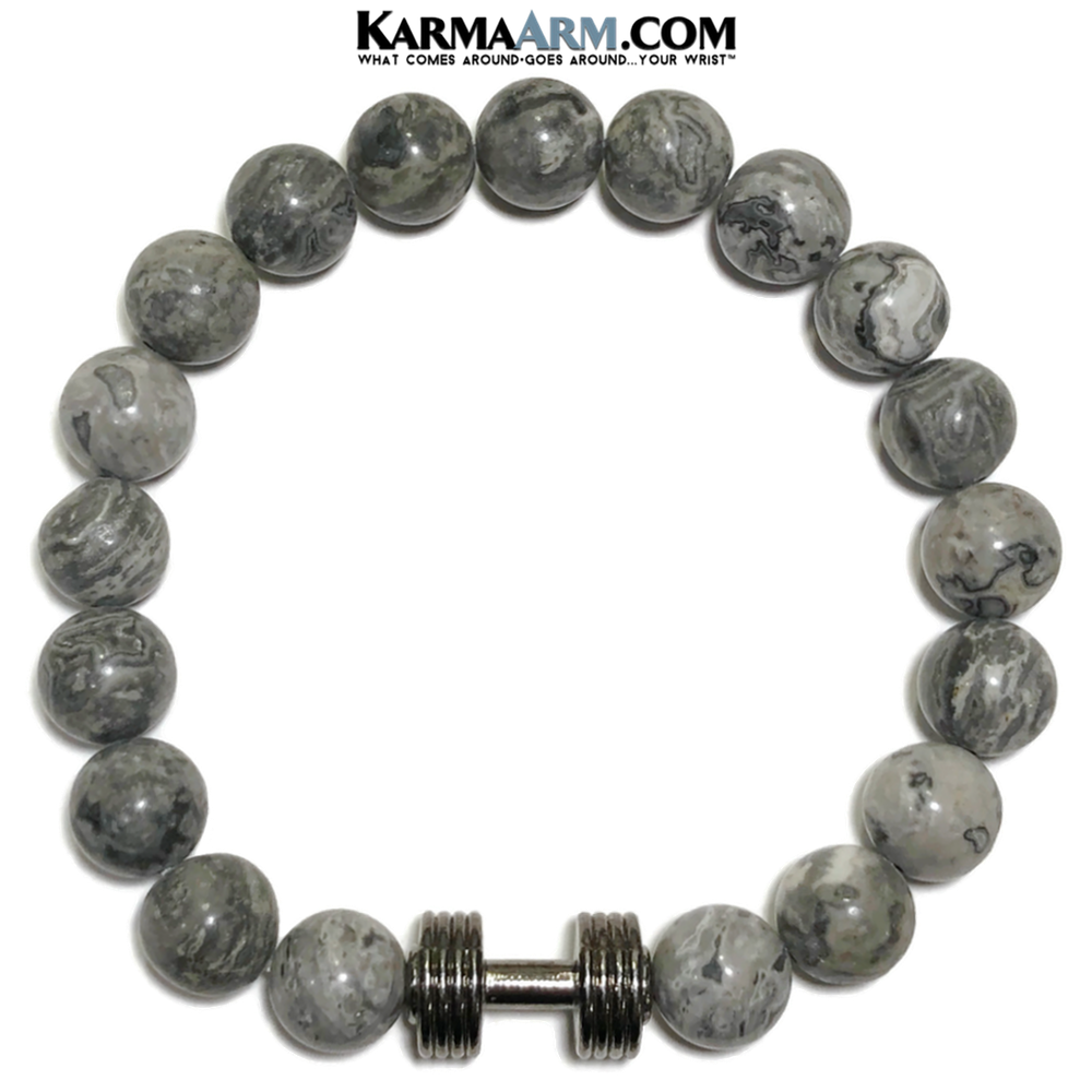 Barbell Dumbbell Meditation Mantra Yoga Bracelet. Self-Care Wellness Wristband Jewelry. Crazy Lace Agate.