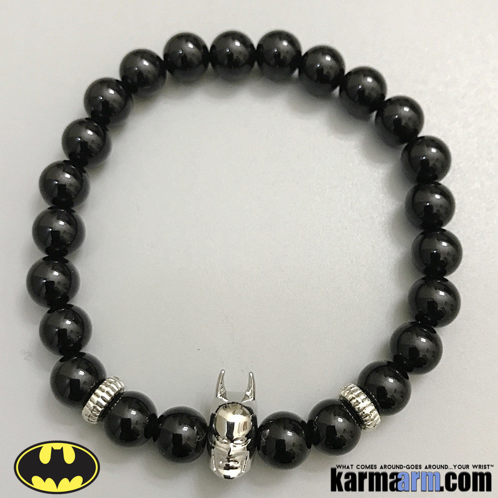 Batman Beaded Bracelet. DC Comics Beaded Yoga. Handmade Bracelets. Law of Attraction #LOA | Charm Mala I Meditation & Mantra I Spiritual. Silver Black Onyx.