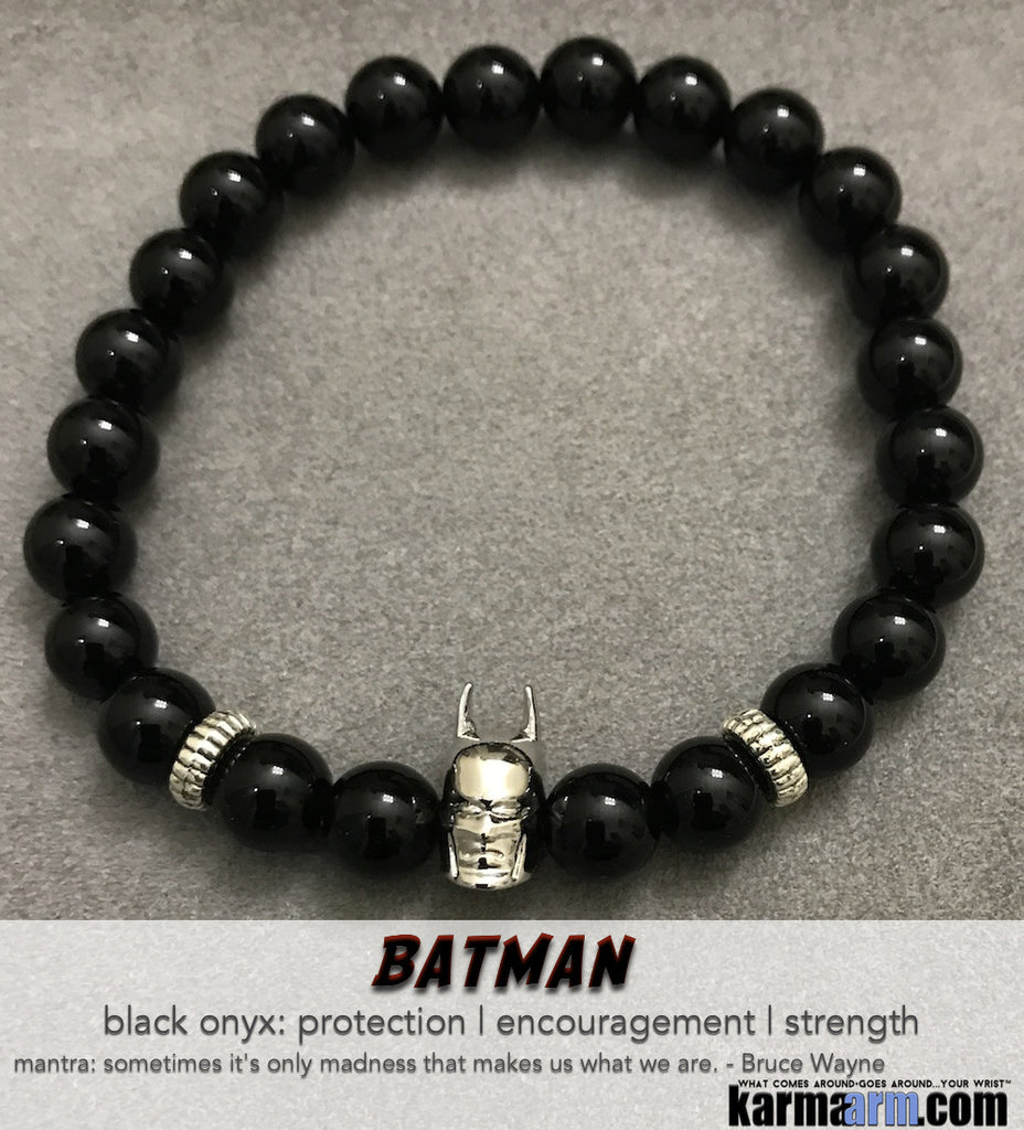 Batman Beaded Bracelets. DC Comics Beaded Yoga. Handmade Bracelets. Law of Attraction #LOA | Charm Mala I Meditation & Mantra I Spiritual.