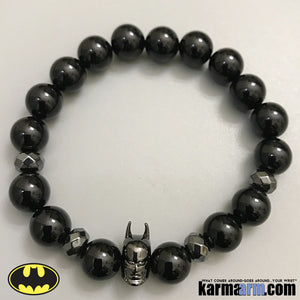 Batman Bracelet. DC Comics Beaded Yoga. Handmade Bracelets. Law of Attraction #LOA | Charm Mala I Meditation & Mantra I Spiritual. Gunmetal Hematite Black Onyx.