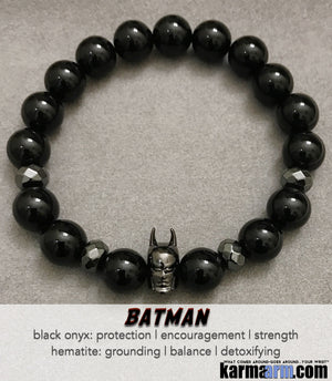 Batman Bracelets. Black Onyx Yoga Bracelets | Handmade Men's & Women's Luxury Beaded Mala & Jewelry.