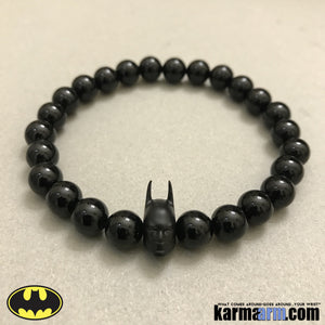 Batman Bracelets.  DC Comics Marvel Star Wars Beaded Yoga. Handmade Bracelets. Law of Attraction #LOA | Charm Mala I Meditation & Mantra I Spiritual. Matte Black.