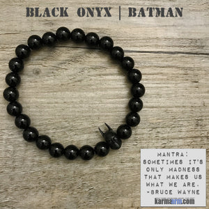 Batman Bracelets. DC Comics Marvel Superhero Yoga Bracelets. Handmade Men's Women's Luxury Beaded Mala Jewelry.Matte Black Onyx.
