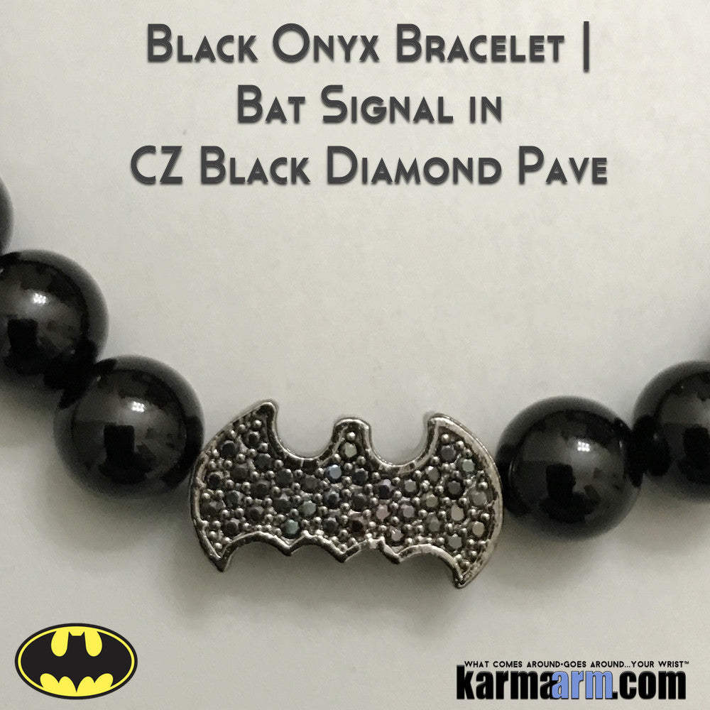 Batman Bracelets. Fanboy Jewelry. Superhero. DC Comics Marvel. Handmade Luxury.  Mens & Women's Law of Attraction. Energy Healing. Beaded Mala. Tibetan Buddhist. #LOA. Black Pave Onyx.