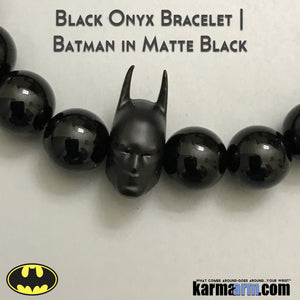 Batman Bracelets. Fanboy Jewelry. Superhero. DC Comics Marvel. Handmade Luxury.  Mens & Women's Law of Attraction. Energy Healing. Beaded Mala. Tibetan Buddhist. #LOA. Matte Black Onyx.
