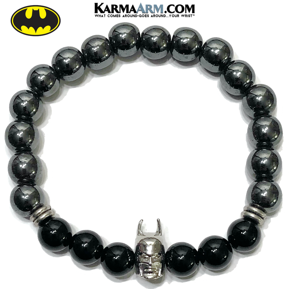 Batman Superhero Meditation Mantra Yoga Bracelets. Mens Wristband Jewelry. Black Onyx. copy 2