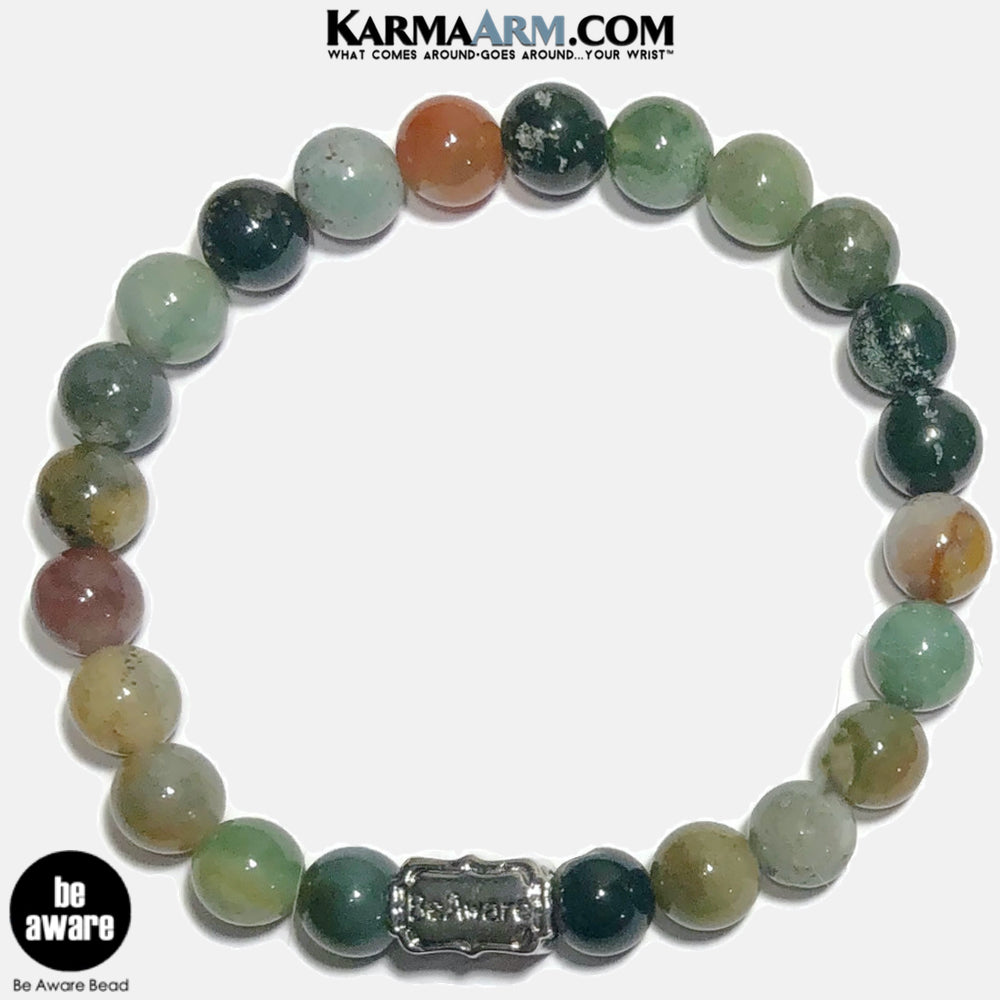 Be Aware Meditation Mantra Yoga Bracelets. Self Care Wellness Wristband Jewelry. Indian Agate. copy