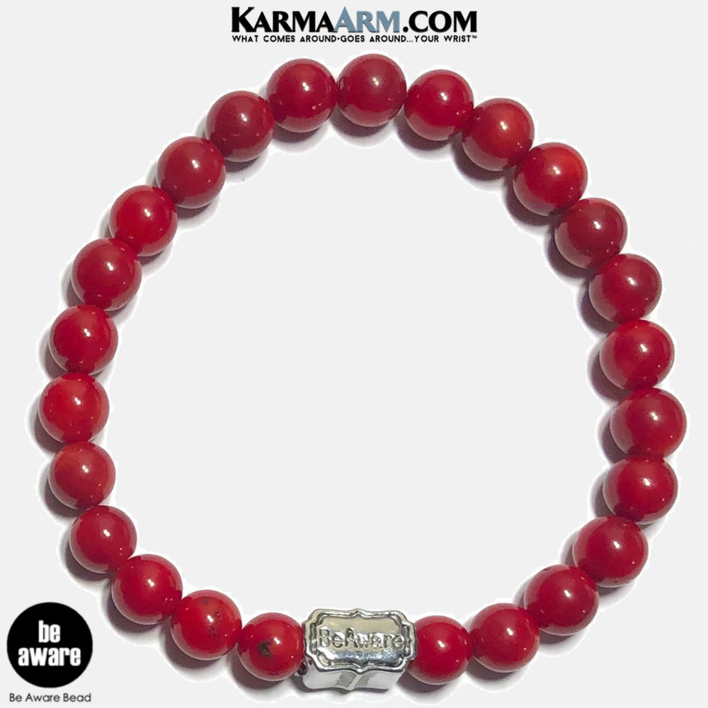 Be Aware Meditation Mantra Yoga Bracelets. Self Care Wellness Wristband Jewelry. Red Coral.