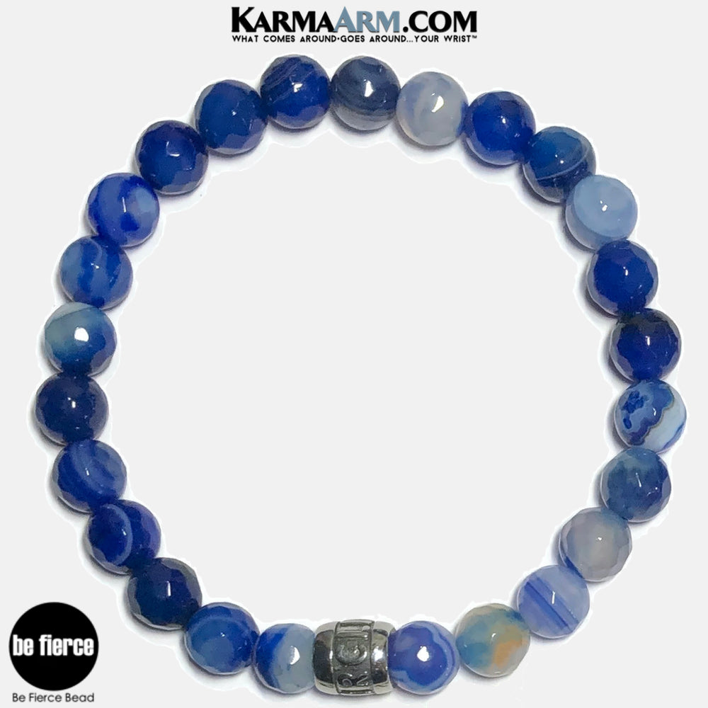 Be Fierce Meditation Mantra Yoga Bracelets. Self Care Wellness Wristband Jewelry. Faceted Blue Banded Agate.