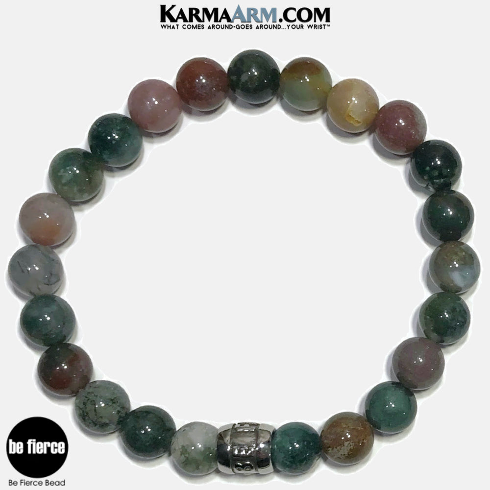 Be Fierce Meditation Mantra Yoga Bracelets. Self-Care Wellness Wristband Jewelry. Indian Agate.