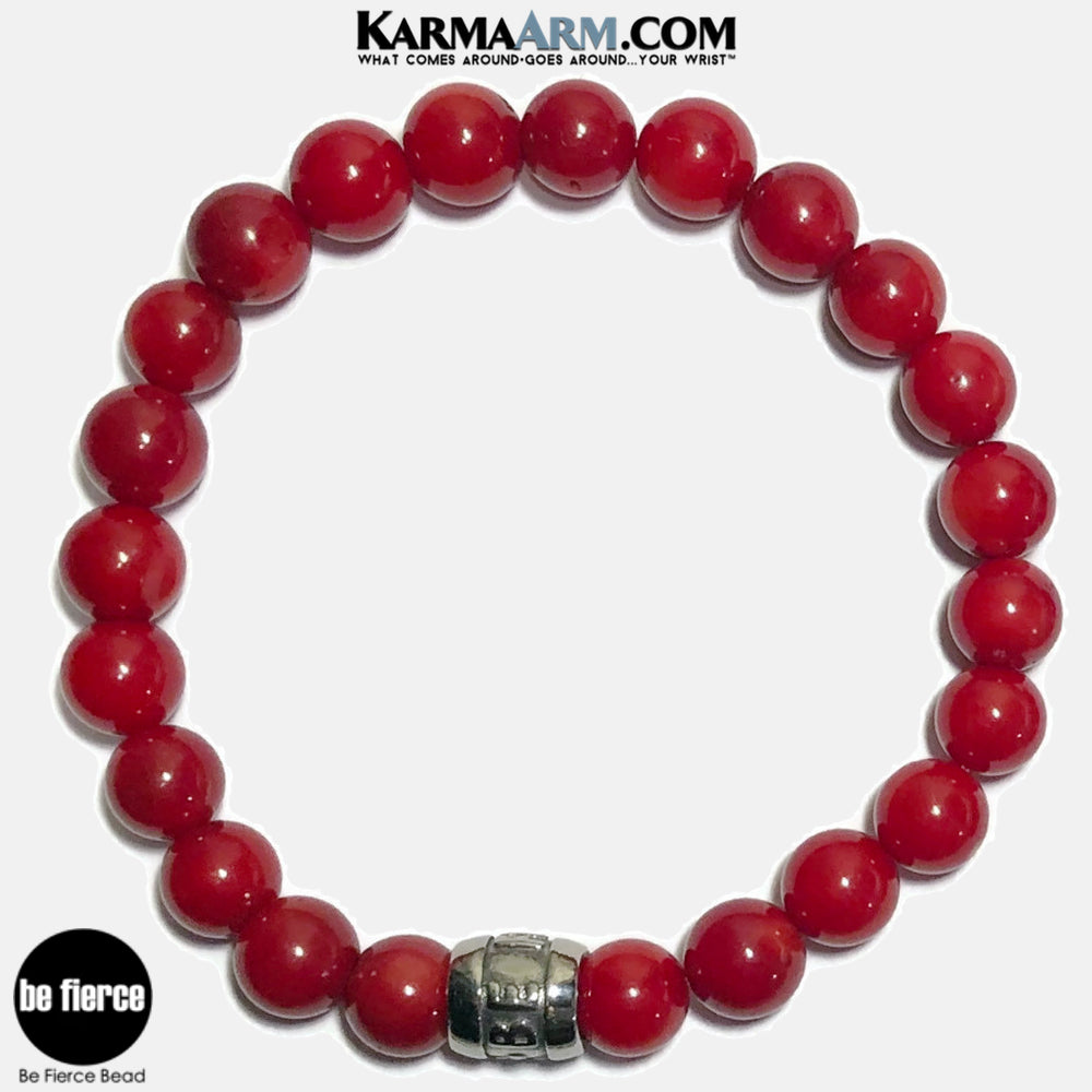Be Fierce Meditation Mantra Yoga Bracelets. Self Care Wellness Wristband Jewelry. Red Coral.