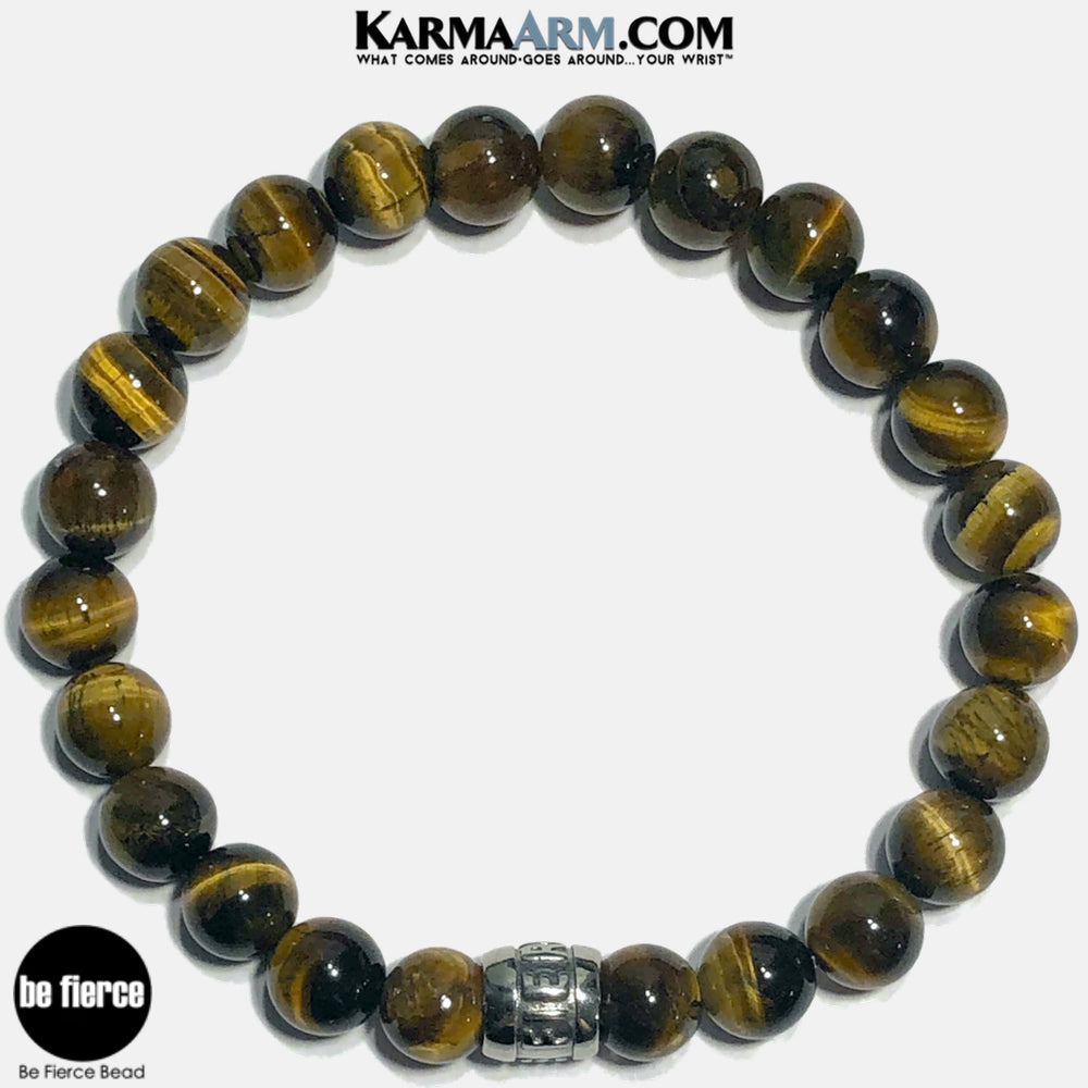 Be Fierce Meditation Mantra Yoga Bracelets. Self Care Wellness Wristband Jewelry. Tiger Eye.
