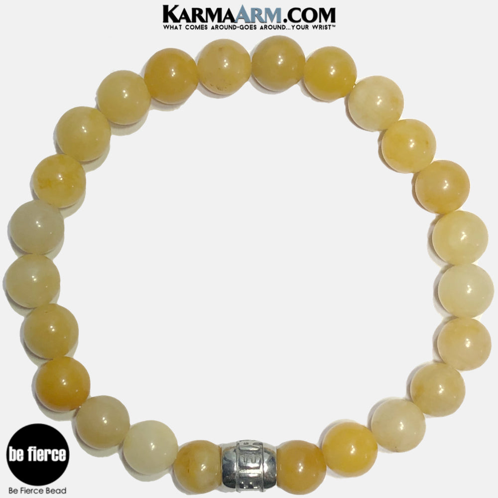 Be Fierce Meditation Mantra Yoga Bracelets. Self-Care Wellness Wristband Jewelry. Yellow Aventurine. copy 2