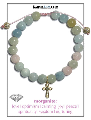 PEACE & JOY | Morganite | CZ Diamond Cross | Pull Tie Bracelet