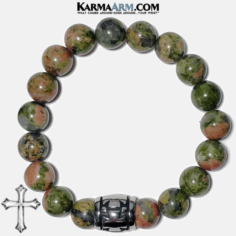 Bead Meditation Yoga Bracelets. Self-Care Wellness Wristband Jewelry. Unakite.